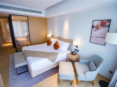 bedroom - hotel shama serviced apartments zijingang - hangzhou, china